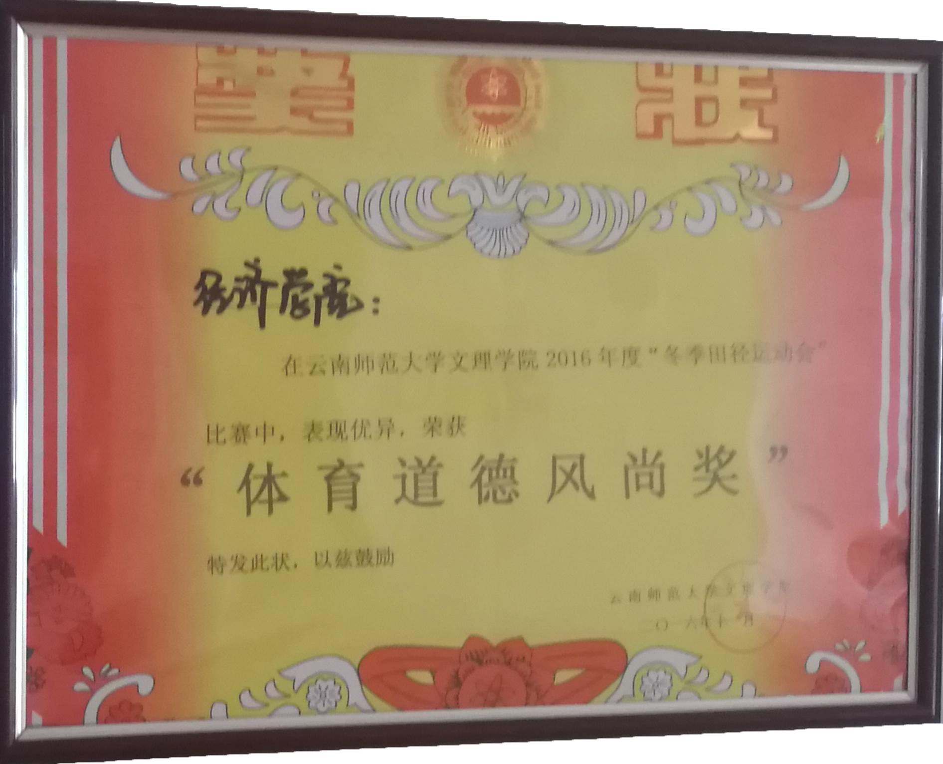 2016年云南师范大学文理学院冬季田径运动会 道德风尚奖